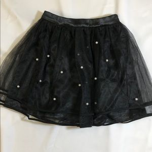 Pearl Detailed With Mesh Overlay Skirt